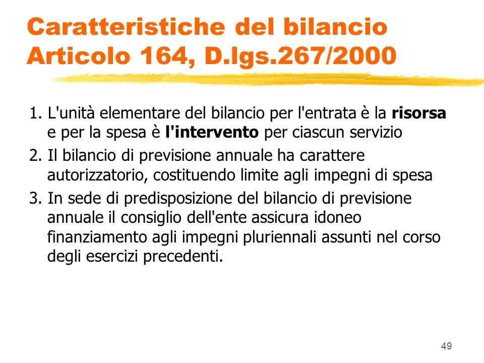 Caratteristiche del bilancio Articolo 164, D.lgs.267/2000