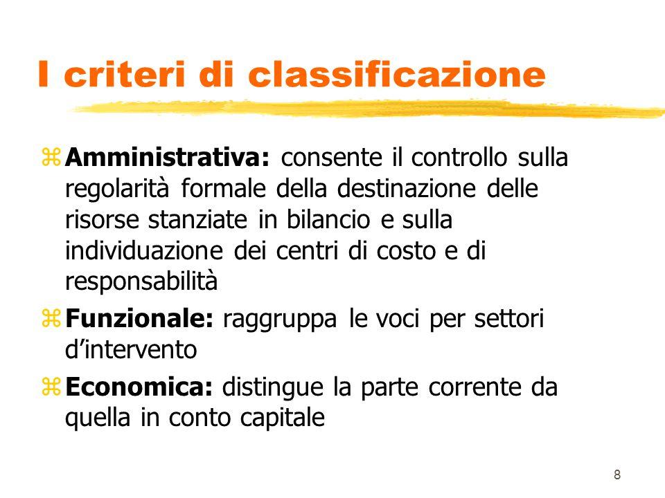 I criteri di classificazione