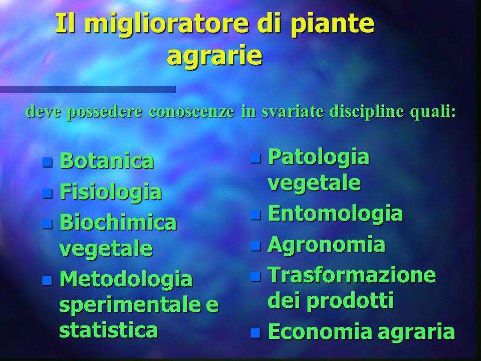 Il miglioratore di piante agrarie