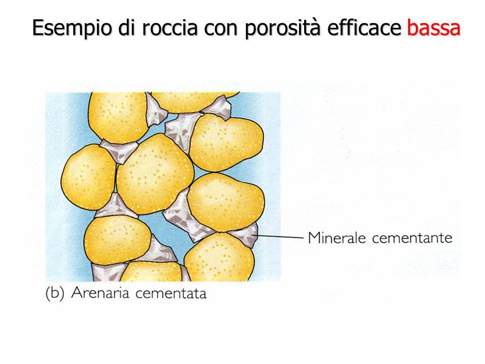 Esempio di roccia con porosità efficace bassa