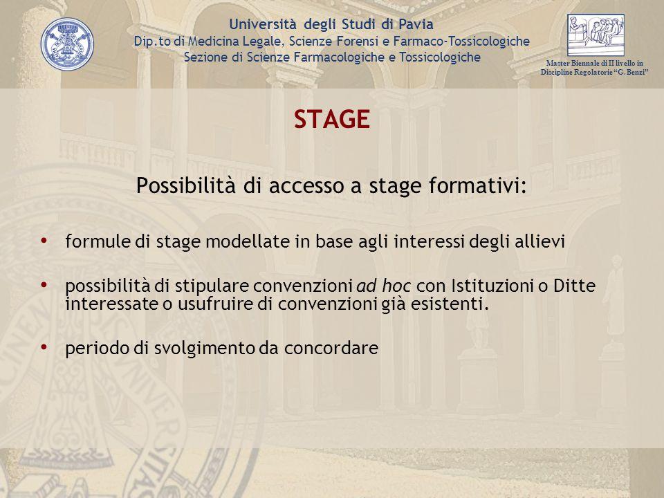 Possibilità di accesso a stage formativi: