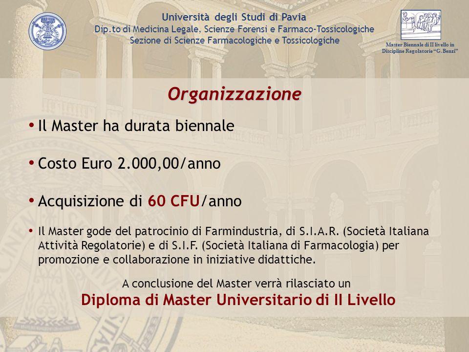 Organizzazione Il Master ha durata biennale Costo Euro 2.000,00/anno