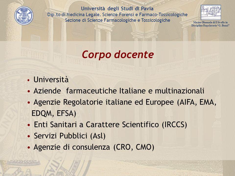 Corpo docente Aziende farmaceutiche Italiane e multinazionali