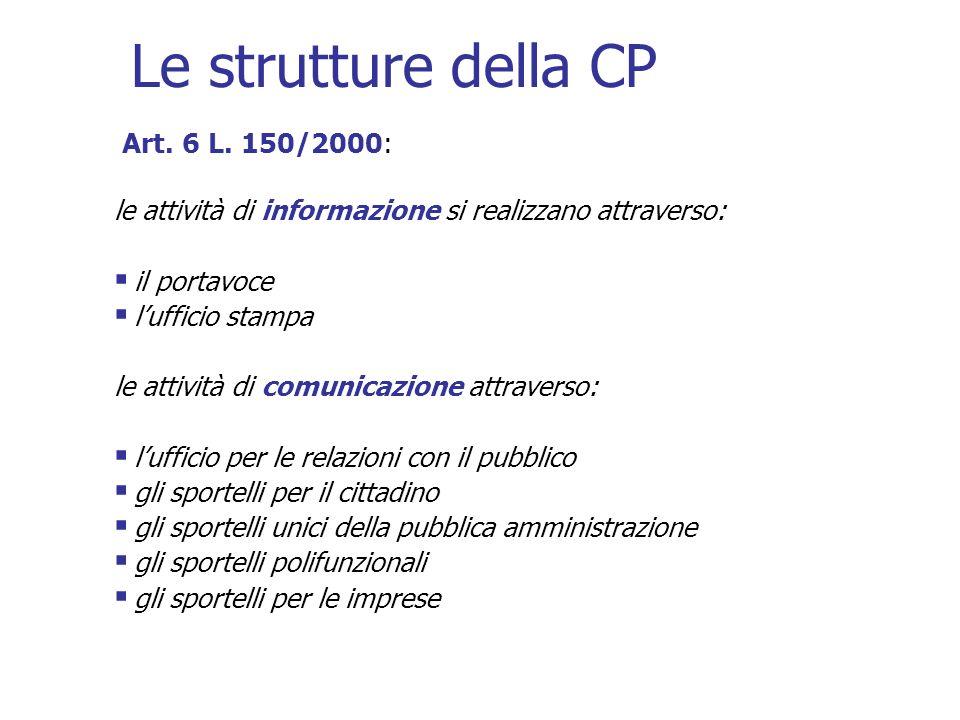 Le strutture della CP Art. 6 L. 150/2000: