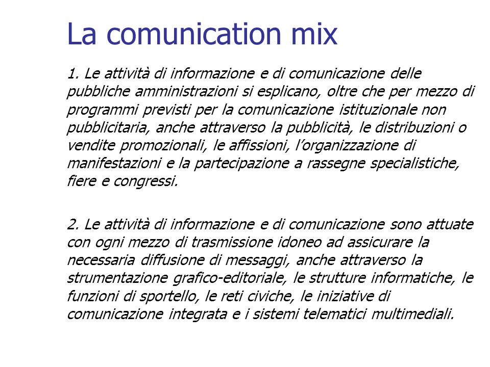 La comunication mix