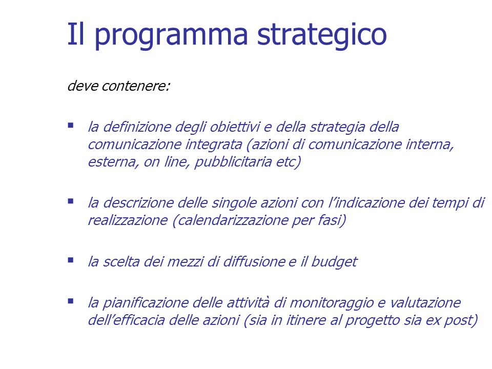 Il programma strategico