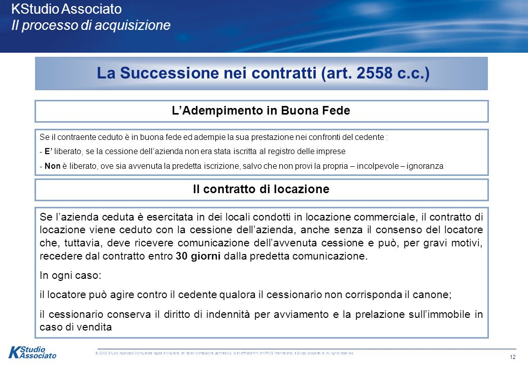 La Successione nei contratti (art. 2558 c.c.)