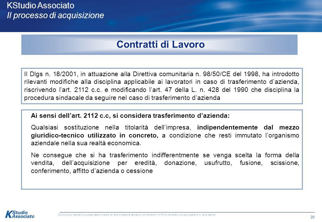 Contratti di Lavoro KStudio Associato Il processo di acquisizione