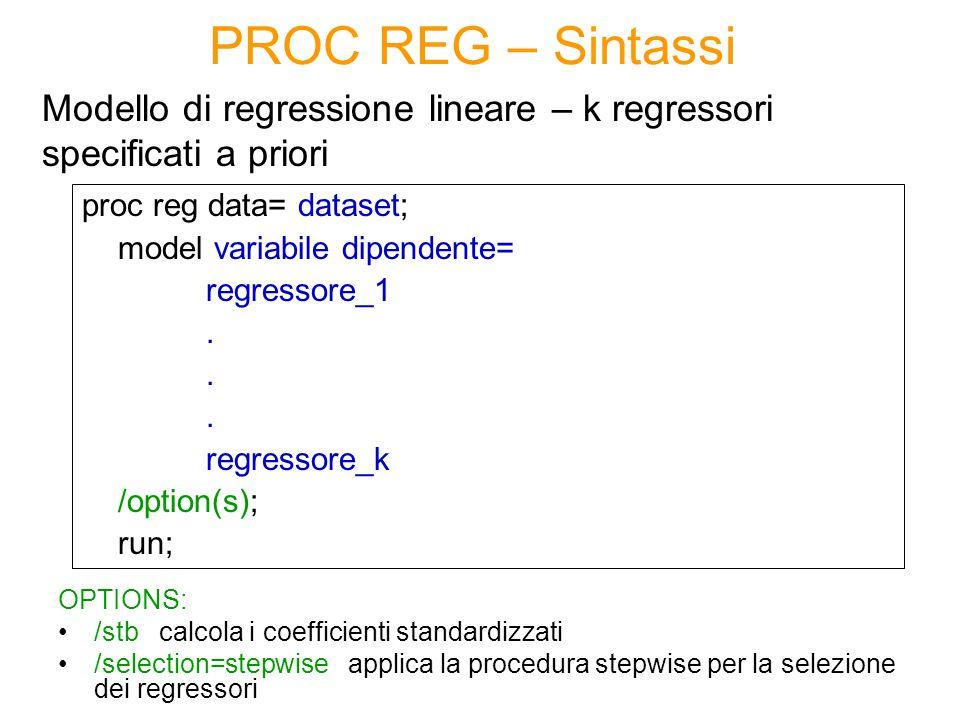 PROC REG – Sintassi Modello di regressione lineare – k regressori specificati a priori. proc reg data= dataset;