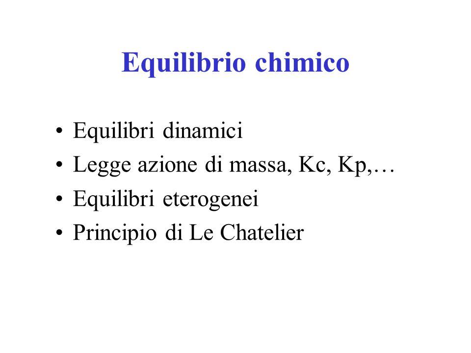 Equilibrio chimico Equilibri dinamici Legge azione di massa, Kc, Kp,…