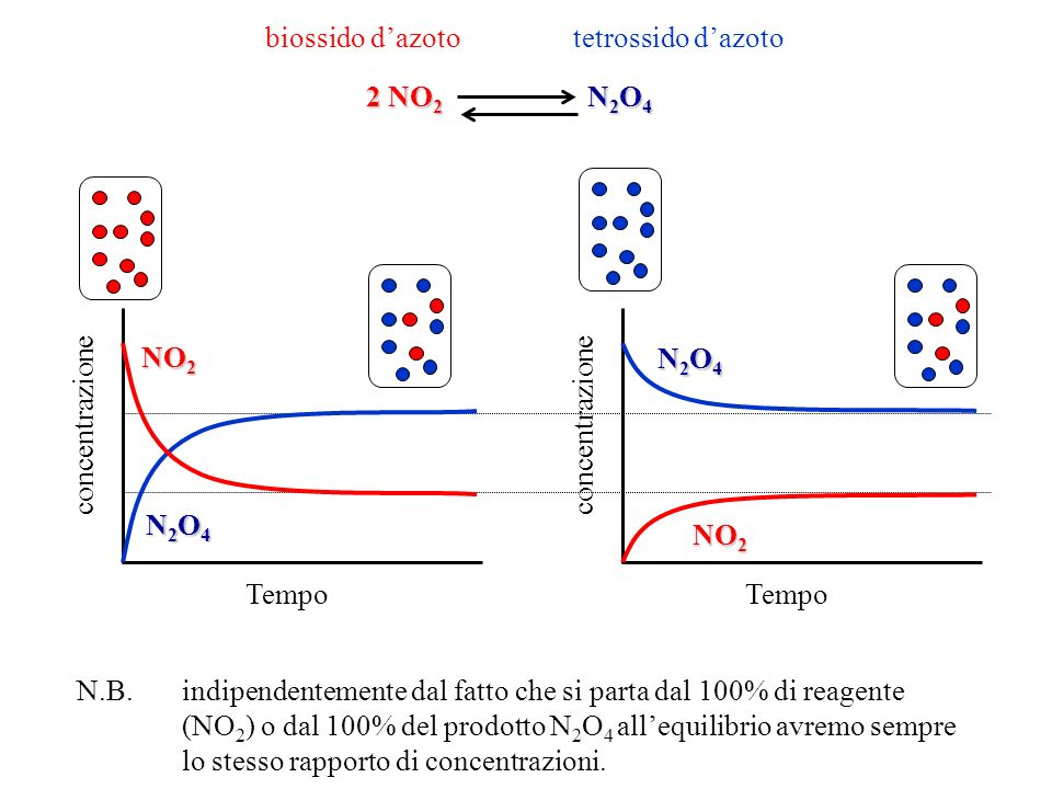 biossido d'azoto tetrossido d'azoto. 2 NO2 N2O4. NO2. N2O4. concentrazione. concentrazione.