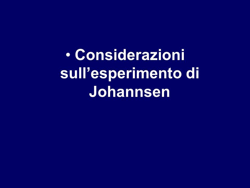 Considerazioni sull'esperimento di Johannsen