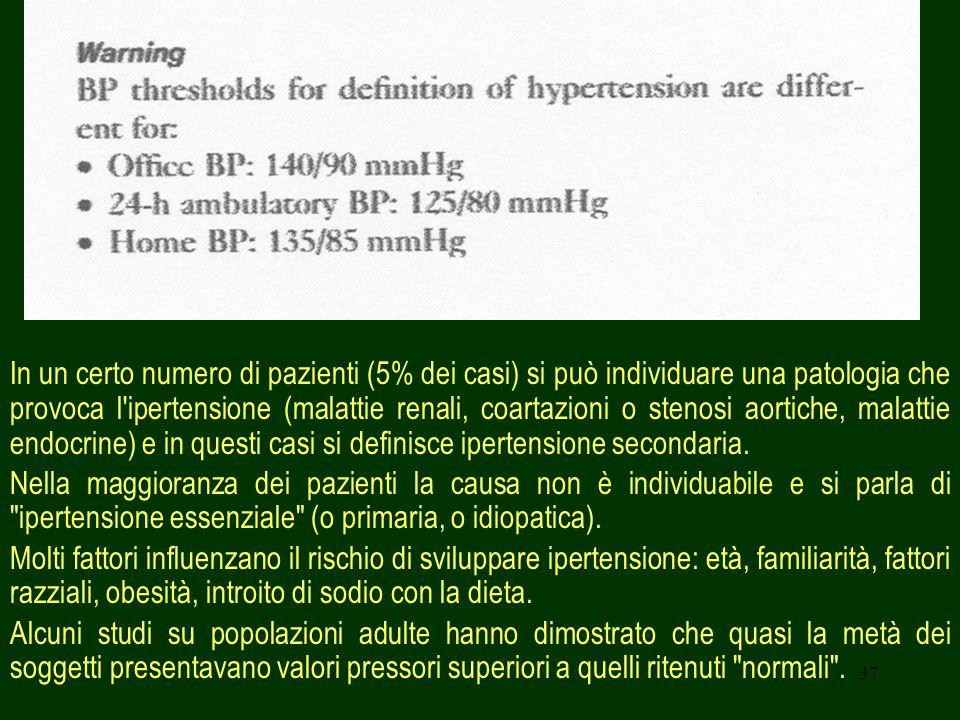 In un certo numero di pazienti (5% dei casi) si può individuare una patologia che provoca l ipertensione (malattie renali, coartazioni o stenosi aortiche, malattie endocrine) e in questi casi si definisce ipertensione secondaria.