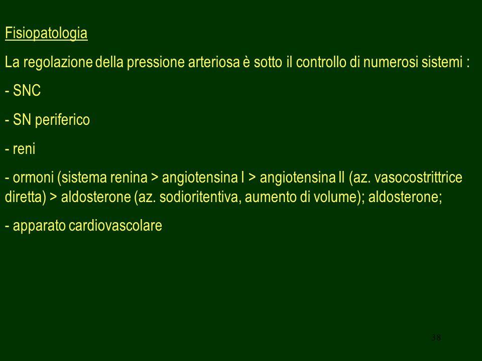 Fisiopatologia La regolazione della pressione arteriosa è sotto il controllo di numerosi sistemi : - SNC.