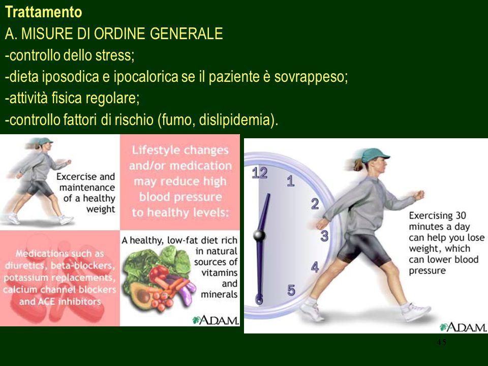 Trattamento A. MISURE DI ORDINE GENERALE. -controllo dello stress; -dieta iposodica e ipocalorica se il paziente è sovrappeso;
