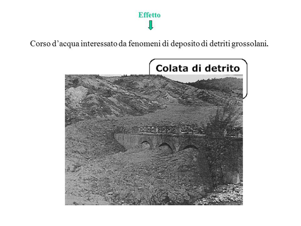 Effetto Corso d'acqua interessato da fenomeni di deposito di detriti grossolani.