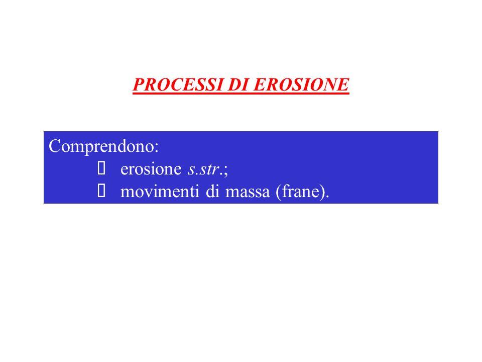 PROCESSI DI EROSIONE Comprendono: Ø erosione s.str.; Ø movimenti di massa (frane).