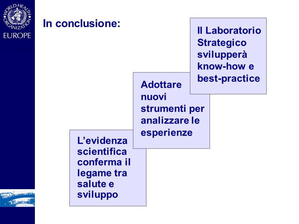 In conclusione: Il Laboratorio Strategico svilupperà know-how e best-practice. Adottare nuovi strumenti per analizzare le esperienze.