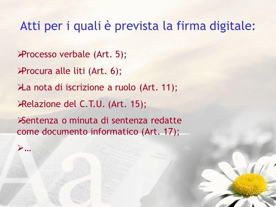 Atti per i quali è prevista la firma digitale: