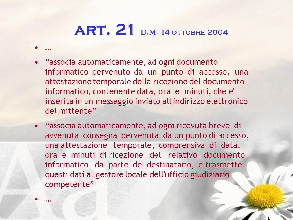 art. 21 D.M. 14 ottobre 2004 …