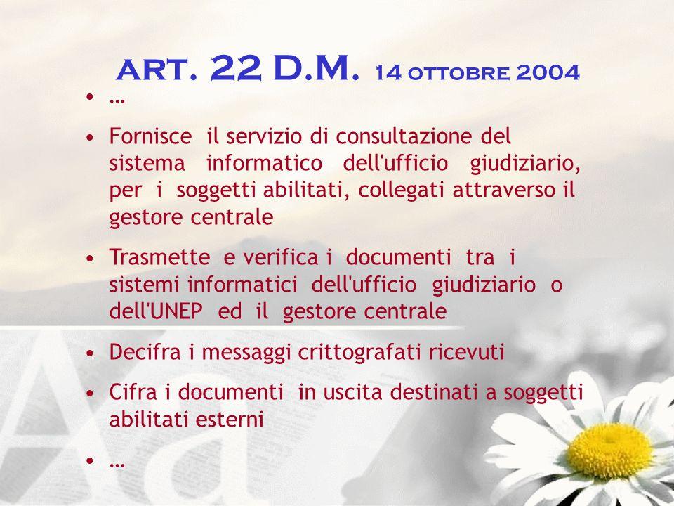 art. 22 D.M. 14 ottobre 2004 …