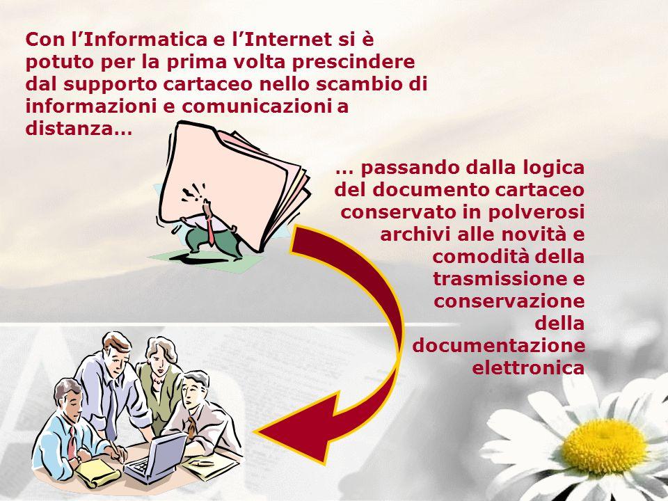 Con l'Informatica e l'Internet si è potuto per la prima volta prescindere dal supporto cartaceo nello scambio di informazioni e comunicazioni a distanza…