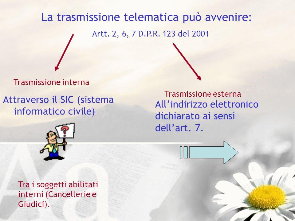 La trasmissione telematica può avvenire: