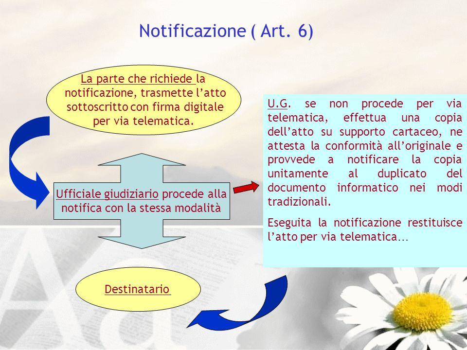 Notificazione ( Art. 6) La parte che richiede la