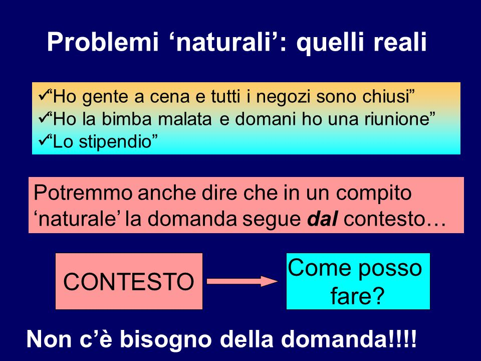 Problemi 'naturali': quelli reali