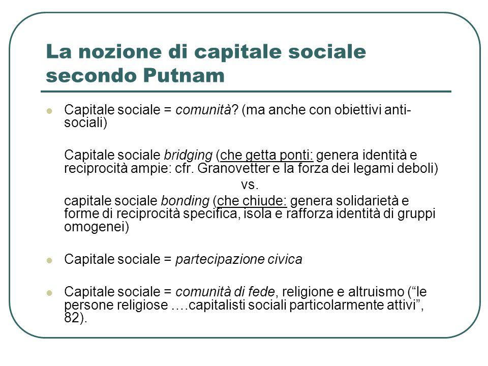 La nozione di capitale sociale secondo Putnam