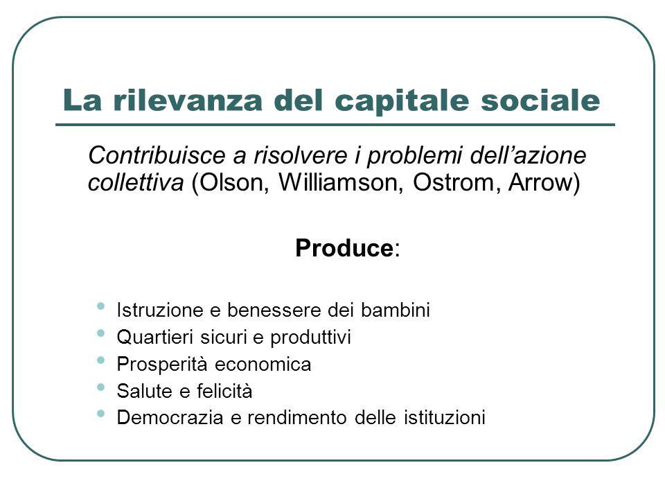La rilevanza del capitale sociale