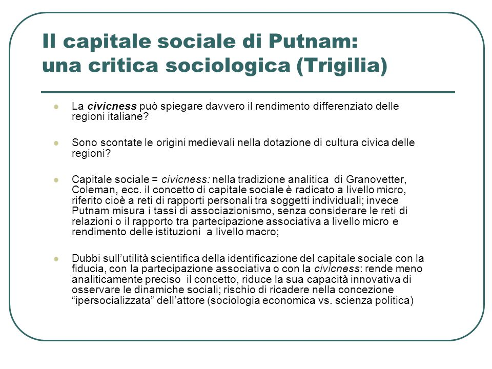 Il capitale sociale di Putnam: una critica sociologica (Trigilia)