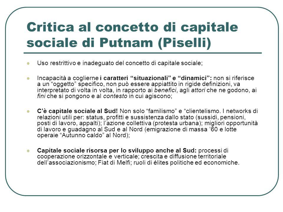 Critica al concetto di capitale sociale di Putnam (Piselli)