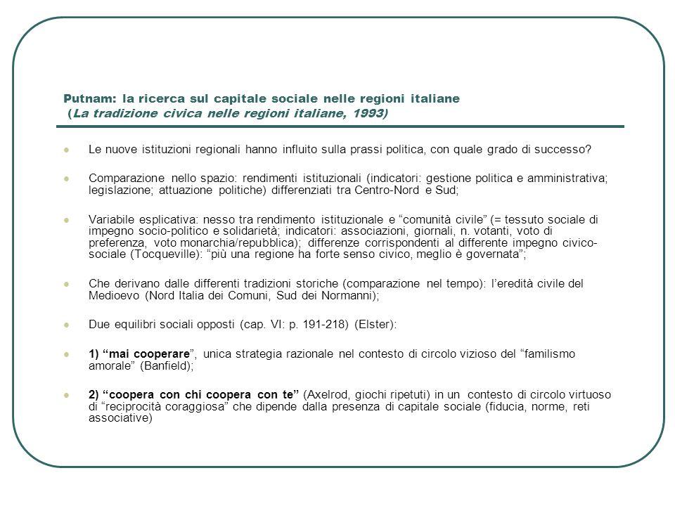 Putnam: la ricerca sul capitale sociale nelle regioni italiane (La tradizione civica nelle regioni italiane, 1993)