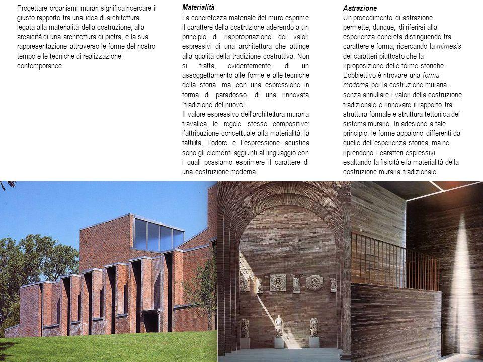 Progettare organismi murari significa ricercare il giusto rapporto tra una idea di architettura legata alla materialità della costruzione, alla arcaicità di una architettura di pietra, e la sua rappresentazione attraverso le forme del nostro tempo e le tecniche di realizzazione contemporanee.