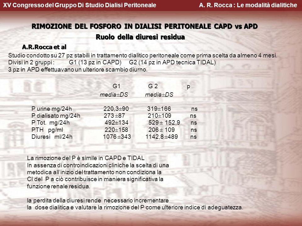 G1 G 2 p RIMOZIONE DEL FOSFORO IN DIALISI PERITONEALE CAPD vs APD