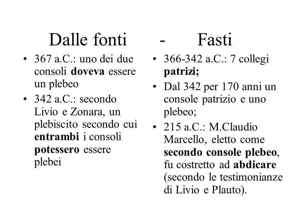 Dalle fonti - Fasti 367 a.C.: uno dei due consoli doveva essere un plebeo.