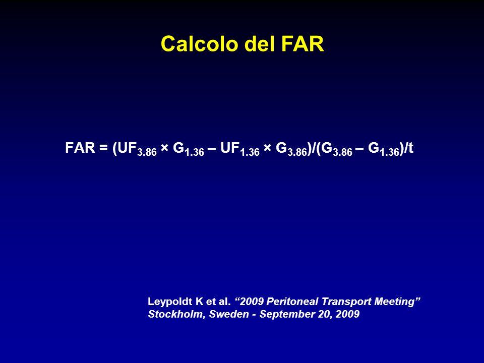 Calcolo del FAR FAR = (UF3.86 × G1.36 – UF1.36 × G3.86)/(G3.86 – G1.36)/t. Leypoldt K et al. 2009 Peritoneal Transport Meeting