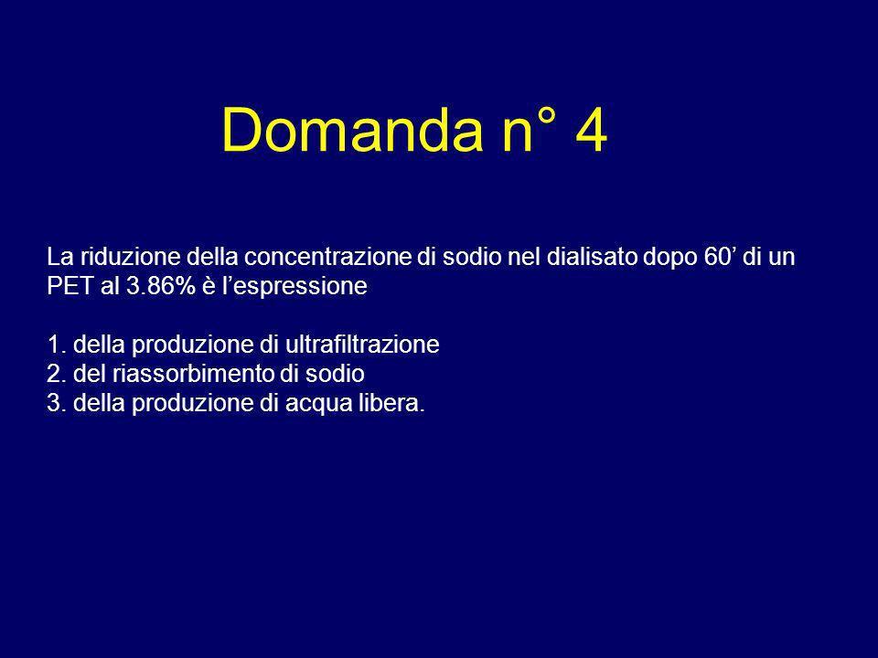 Domanda n° 4 La riduzione della concentrazione di sodio nel dialisato dopo 60' di un PET al 3.86% è l'espressione.