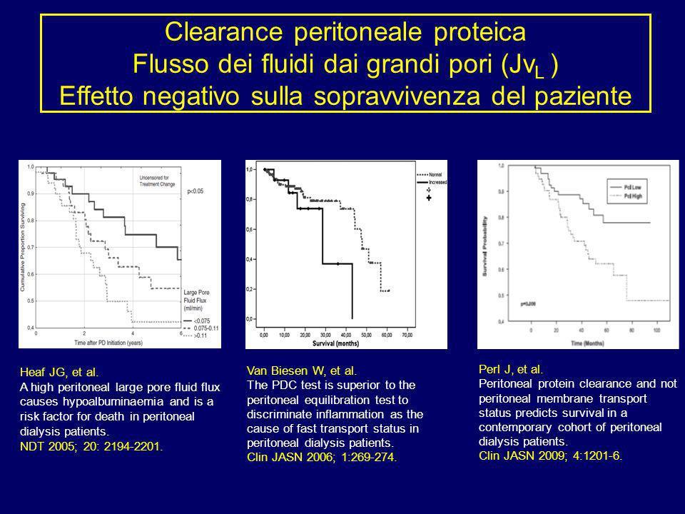 Clearance peritoneale proteica Flusso dei fluidi dai grandi pori (JvL ) Effetto negativo sulla sopravvivenza del paziente