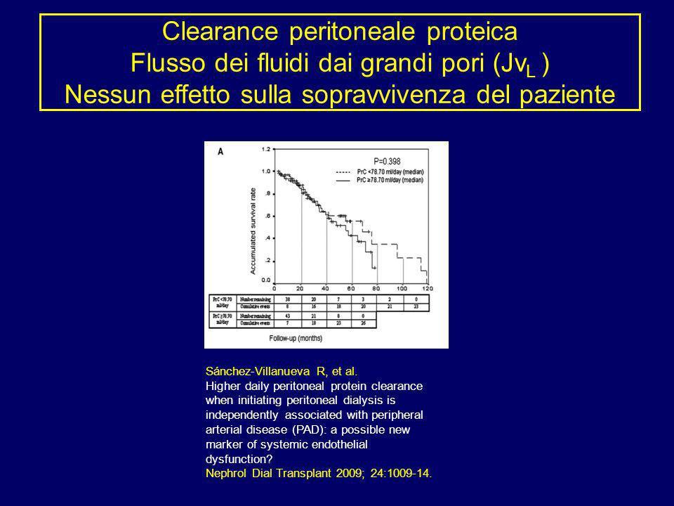 Clearance peritoneale proteica Flusso dei fluidi dai grandi pori (JvL ) Nessun effetto sulla sopravvivenza del paziente