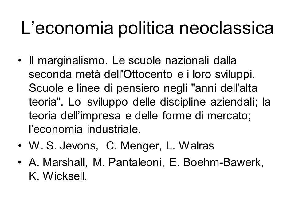 L'economia politica neoclassica