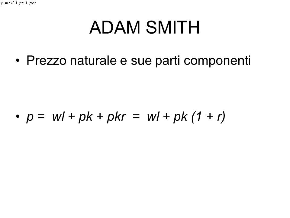 ADAM SMITH Prezzo naturale e sue parti componenti