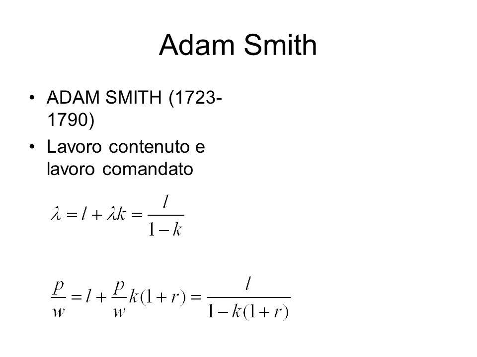 Adam Smith ADAM SMITH (1723-1790) Lavoro contenuto e lavoro comandato