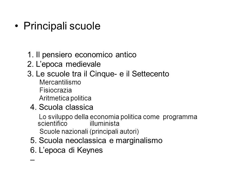 Principali scuole 1. Il pensiero economico antico 2. L'epoca medievale