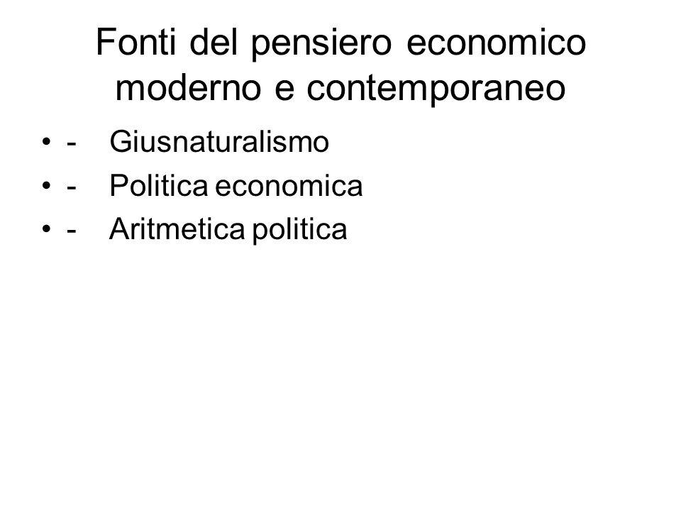 Fonti del pensiero economico moderno e contemporaneo