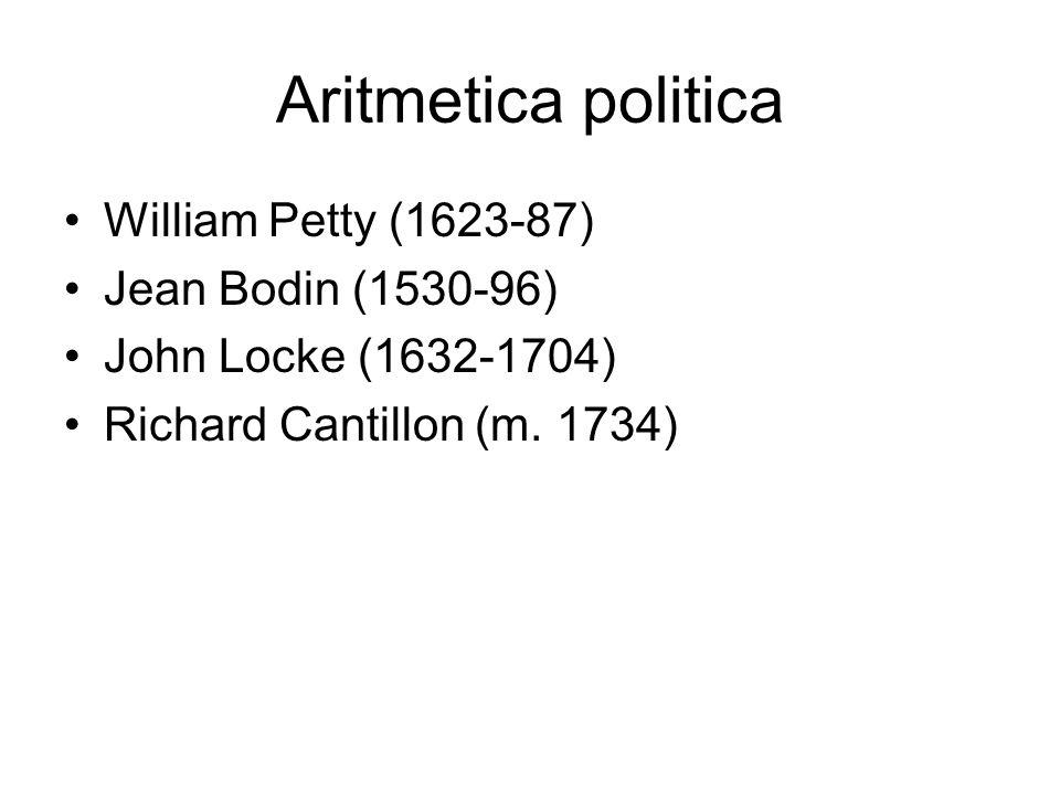 Aritmetica politica William Petty (1623-87) Jean Bodin (1530-96)