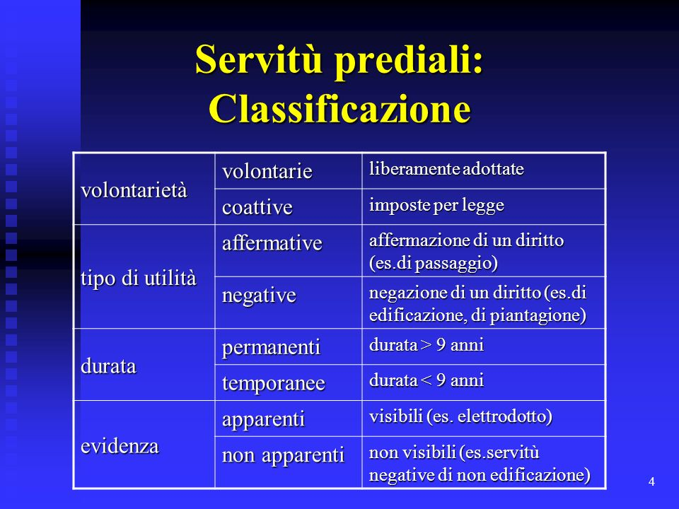 Servitù prediali: Classificazione