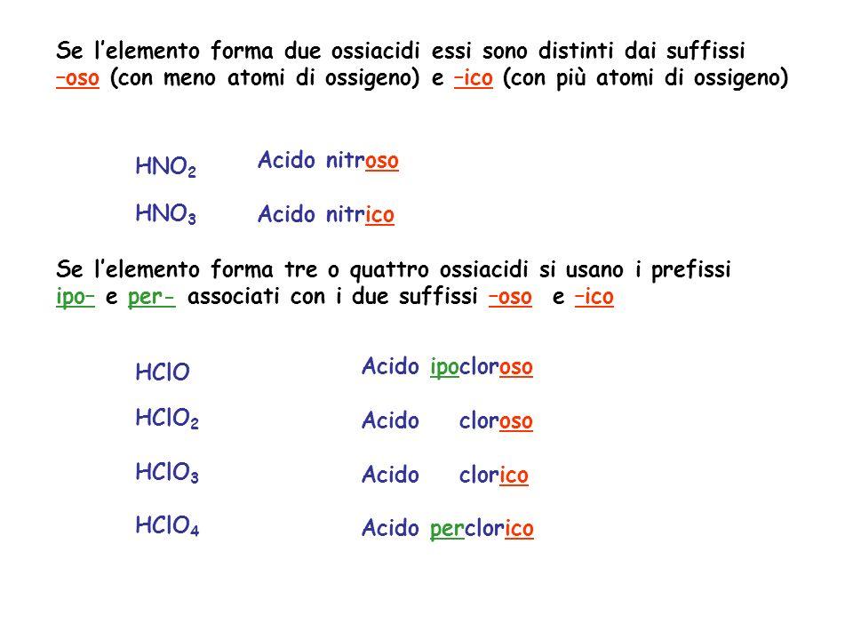 Se l'elemento forma due ossiacidi essi sono distinti dai suffissi