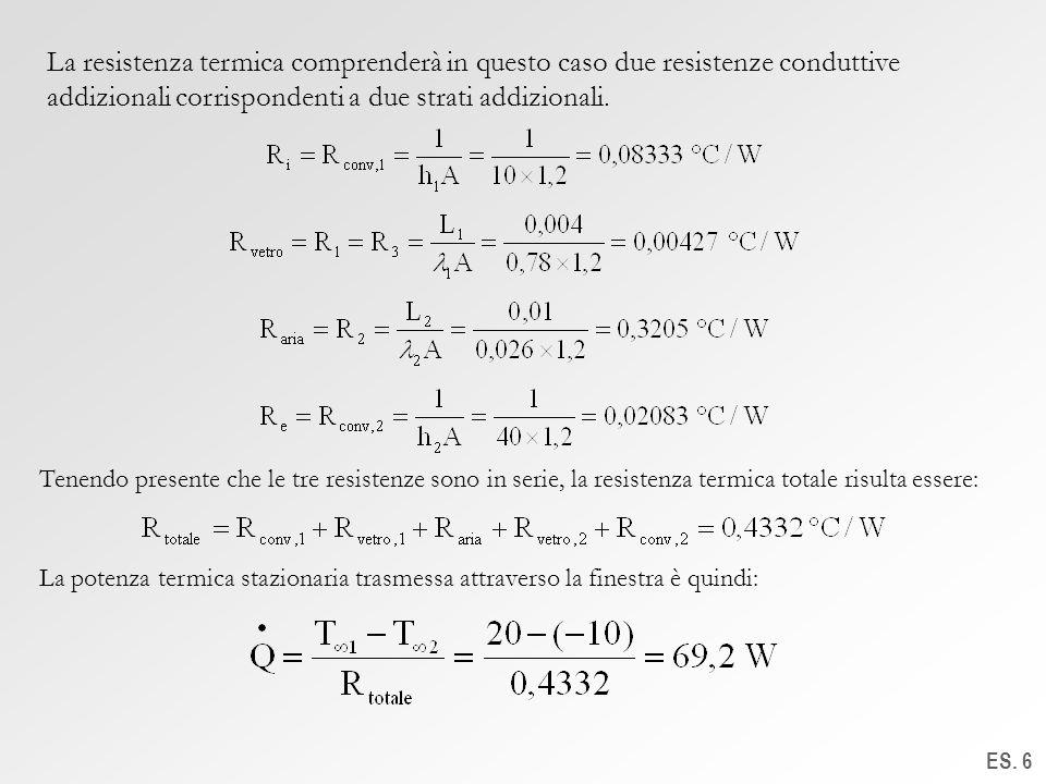 La resistenza termica comprenderà in questo caso due resistenze conduttive addizionali corrispondenti a due strati addizionali.